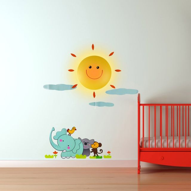 Kas Design Lampe et Stickers Soleil et Animaux