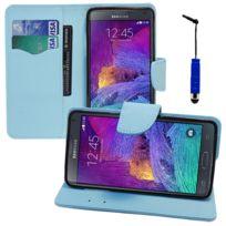 Vcomp - Housse Coque Etui portefeuille Support Video Livre rabat cuir Pu effet tissu pour Samsung Galaxy Note 4 Sm-n910F/ Note 4 Duos Dual Sim, N9100/ Note 4 CDMA, / N910C N910W8 N910V N910A N910T N910M + mini stylet - Bleu