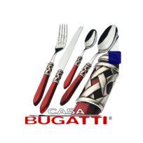 Bugatti Italy - Ménagère 24 pièces inox avec manche Bordeaux et bague Finition Argent Antique S4250-ALB-3M-Aladdin par Bugatti