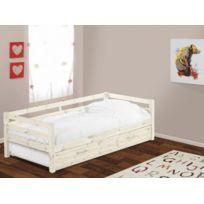 lit pin massif achat lit pin massif pas cher soldes rueducommerce. Black Bedroom Furniture Sets. Home Design Ideas