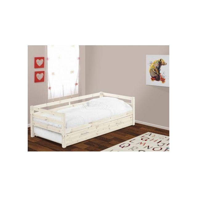 marque generique lit gigogne aedan 90x190cm pin massif blanchi pas cher achat vente