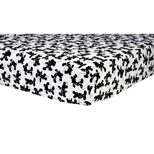 disney drap housse mickey star en coton gris 90cm x 190cm pas cher achat vente draps. Black Bedroom Furniture Sets. Home Design Ideas