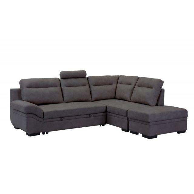 meubletmoi canap d 39 angle droit convertible gris anthracite louxor achat vente canap s pas. Black Bedroom Furniture Sets. Home Design Ideas
