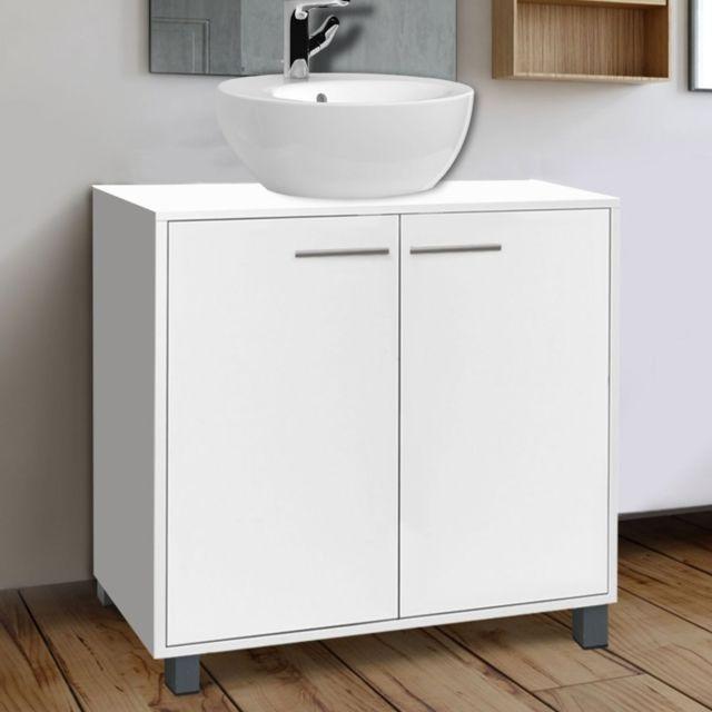 Idmarket meuble sous lavabo blanc pour vasque de salle - Meuble salle de bain sous lavabo ...