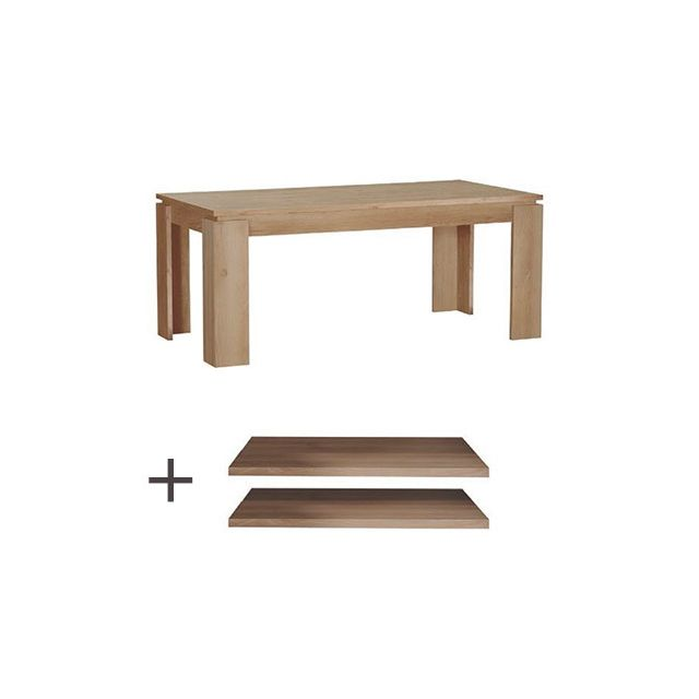 Table à manger + lot de 2 allonges L180/260xH76xP90cm