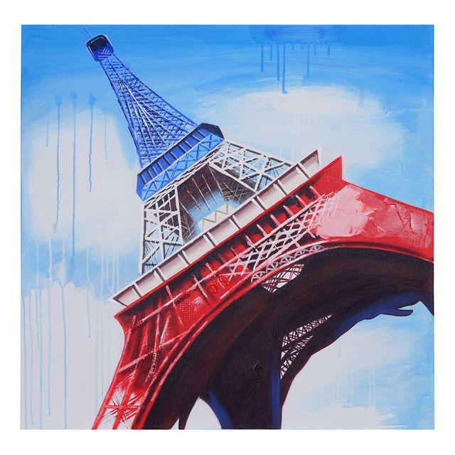 Mendler Tableau A L Huile Tour Eiffel Tricolore Peint A La Main