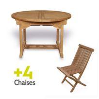 Teck'ATTITUDE - Salon de jardin en teck Ecograde© Wesport, table ronde extensible 1,2 à 1,7 m + 4 chaises Java