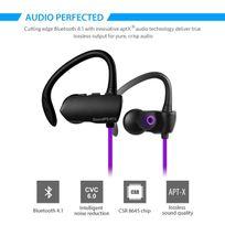 Alpexe - Ecouteur Bluetooth 4.1 stéréo casque sans fil sport anti-sueur, oreillette intra-auriculaire compatible avec les Iphone, Ipad, Sony,Samsung et d'autre smartphones Q9A Violet