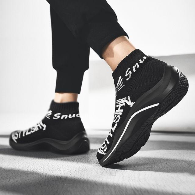 Chaussures Chaussettes de course sport respirantes tissées haut volantes pour hommes Couleur: Blanc Taille: 42