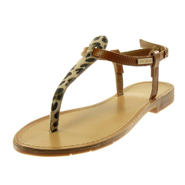 4dc05b39641a2 Angkorly - Sandale Tong salomés - doré lanière léopard Marron - pas cher  Achat   Vente Sandales et tongs femme - RueDuCommerce