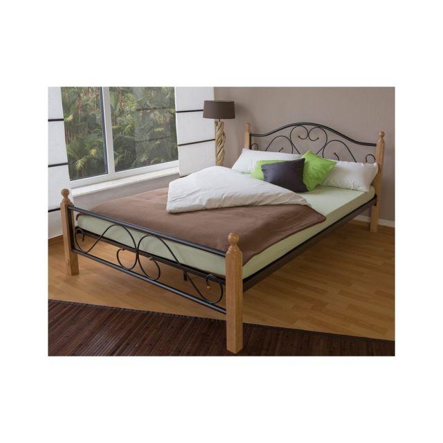 homestyle4u design metal lit double 160 x 200 cadre de lit lattes bois neuf noir naturel. Black Bedroom Furniture Sets. Home Design Ideas