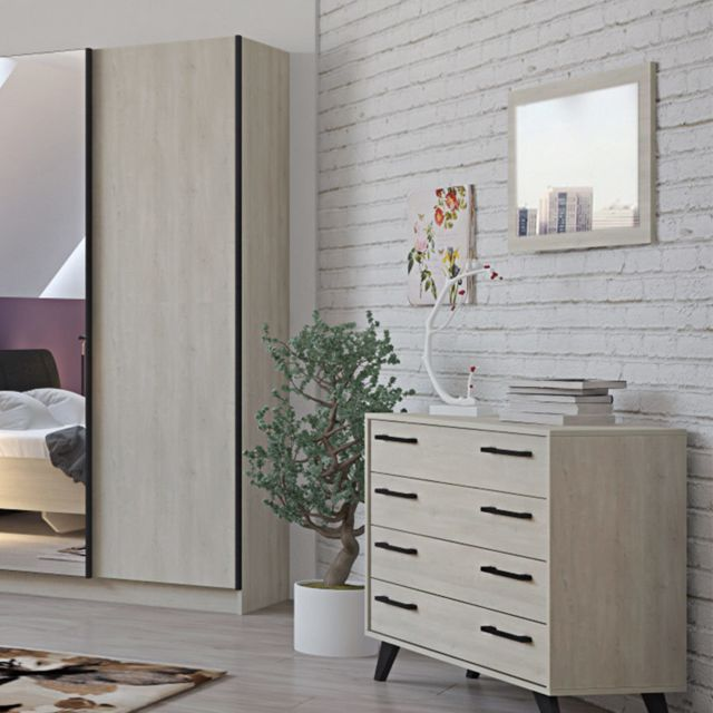 Nouvomeuble Miroir 70 cm contemporain couleur bois clair Anya