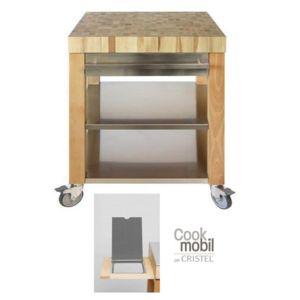 cristel table roulante billot dessus bois et fa ade recouverte d inox 90 x 60 cm cm90dbib. Black Bedroom Furniture Sets. Home Design Ideas