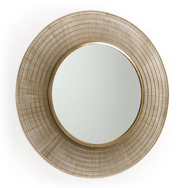 Ma Maison Mes Tendances Miroir rond 80 cm métal doré Auban - L 80 x l 80 x H 2