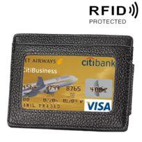 Wewoo - Porte Carte Protection sans contact Anti Rfid noir pour cartes et cadre photo, Taille: 110 77 4 mm Portefeuille en cuir de vachette solide couleur porte-cartes Rfid Blocking Card Protect Case avec 3 emplacements