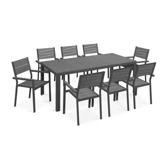 Table de jardin 8 places aluminium et polywood - Gris