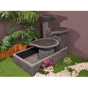 Bonareva - Fontaine de jardin à débordement bassin 3 vasques noire ...