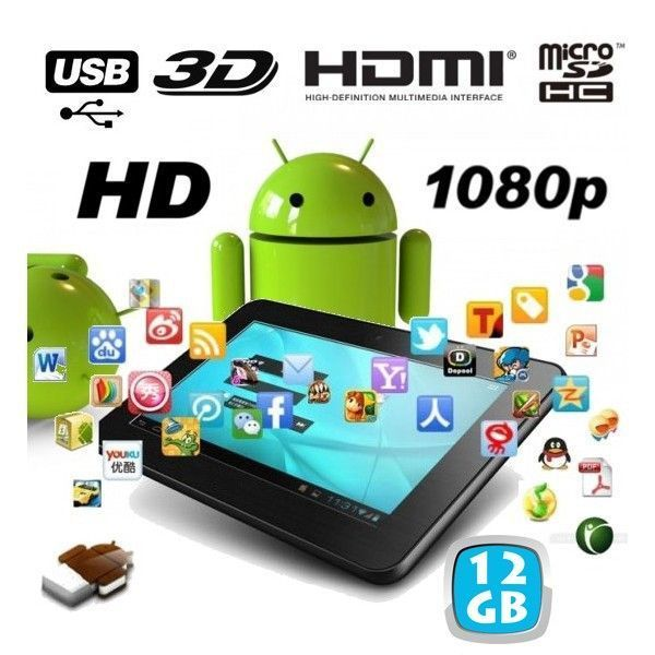 Yonis Tablette tactile capacitif Android 7 pouces Full Hd 1080p 3D 12 Go