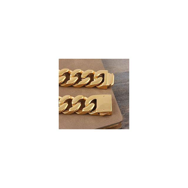 f81b2d3cc1519 Alpexe - Gourmette dorée pour homme gros maillons Acier - pas cher Achat    Vente Bracelets - RueDuCommerce