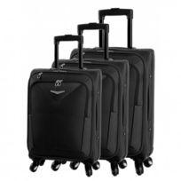 Madison - Madisson Bagage Lot de 3 valises trolley - 4 Roues - Textile - Extensible - Noir