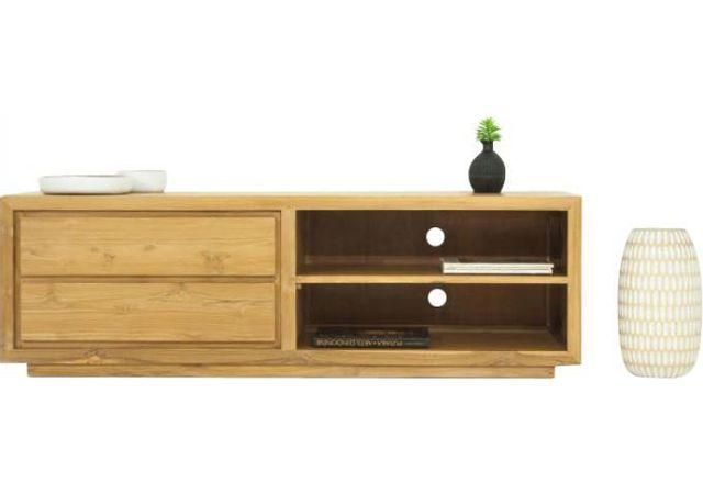 Declikdeco Le Meuble Tv Marvin 2 tiroirs et 2 espaces rangement en teck massif se démarque de par son design angulaire, imprégné d'