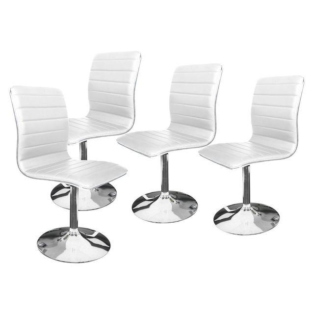 Altobuy rune lot de 4 chaises blanches pas cher - Lot 4 chaises blanches ...