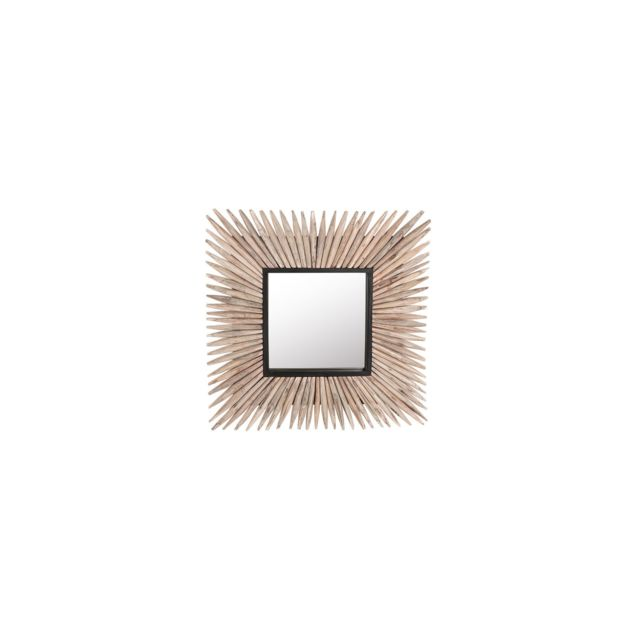 BELIANI Miroir mural carré en bois clair SASABE - marron clair