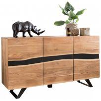 COMFORIUM - Buffet contemporain 148 cm à 3 portes en bois massif d'acacia
