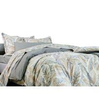 Blanc des Vosges - Housse de couette réversible 100% coton feuille esprit gravure pois Djakarta - Sable - 240x220cmNC