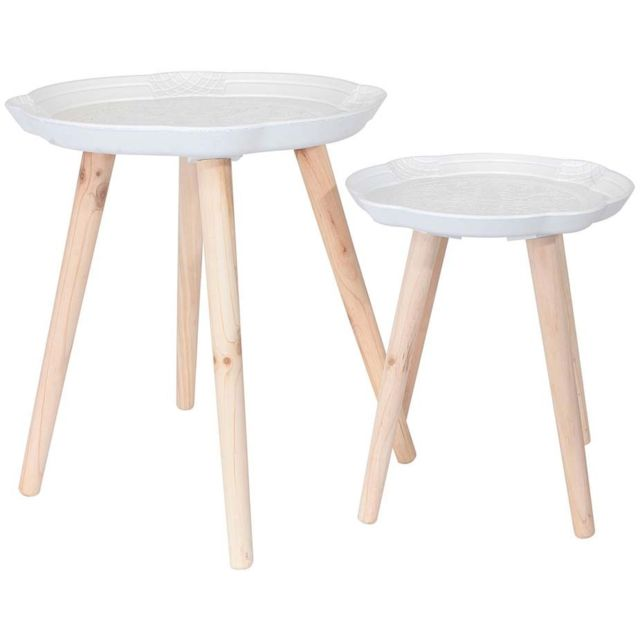 THE HOME DECO FACTORY Tables gigognes motifs arabesques Lot de 2