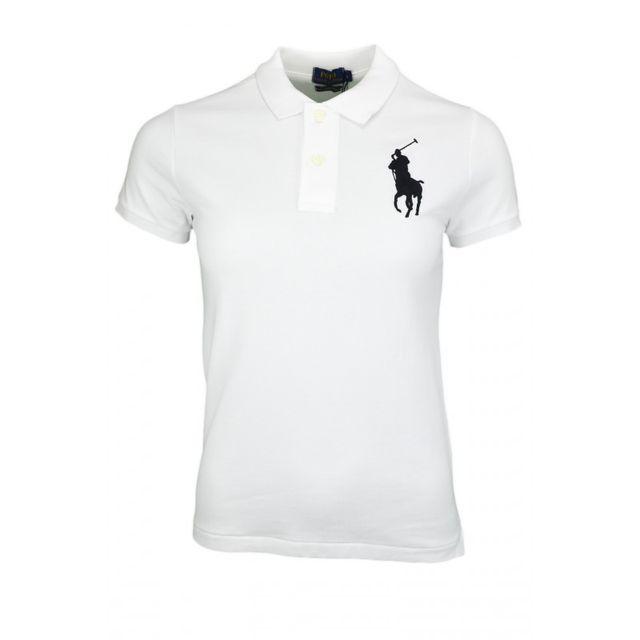 701f7b0a246e48 Ralph Lauren - Polo manches courtes Big Poney blanc pour femme - pas cher  Achat   Vente Polo femme - RueDuCommerce