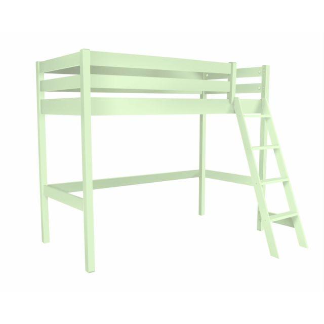 abc meubles lit haut abc avec chelle incline vert pastel 90cm x 200cm pas cher achat vente lit enfant rueducommerce - Lit Haut