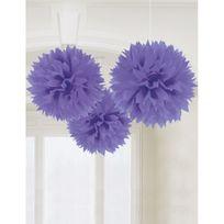 Amscan - Boules de décoration violettes x3