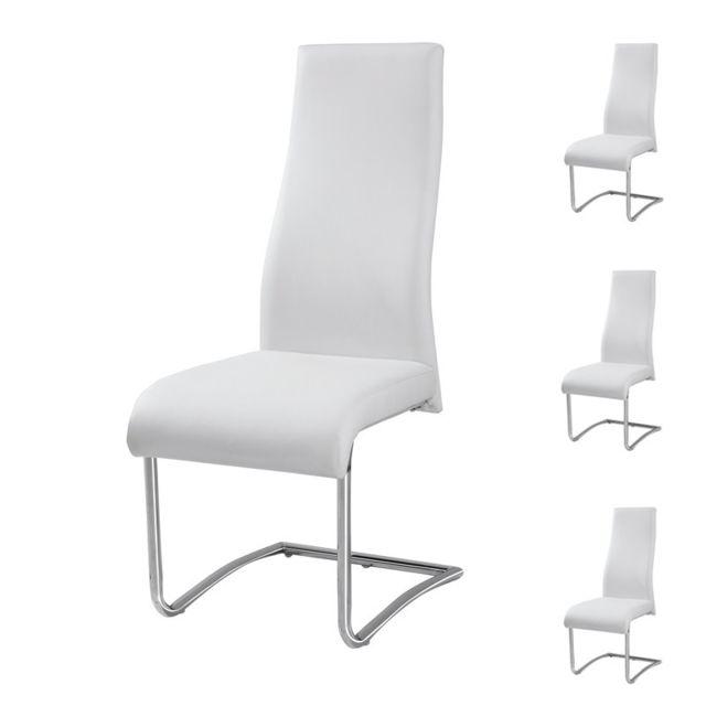 Tousmesmeubles Quatuor de Chaises Simili cuir Blanc - Rome - L 46 x l 48 x H 108