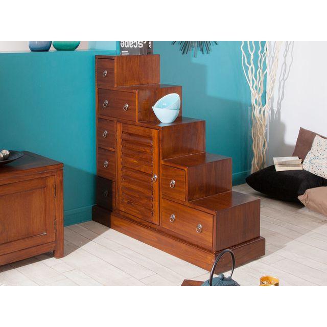haveli republic meuble escalier en bois 7 tiroirs 1 porte l105xp37cm freesia marron pas cher achat vente etagres rueducommerce