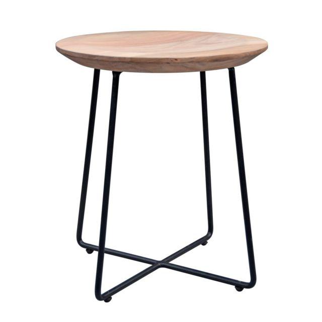 COMFORIUM Table d'appoint en bois massif d'acacia avec un piètement en métal noir Ø40 cm