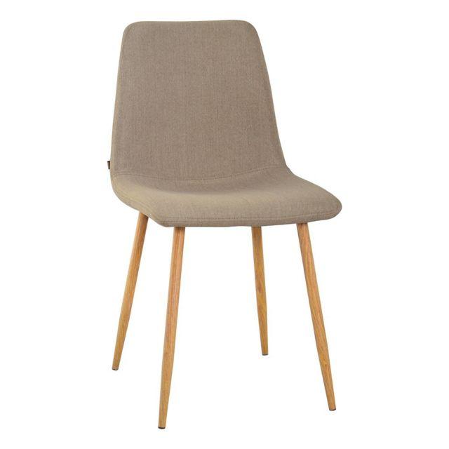 Chaise en Tissu scandinave Zons Zak Taupe 45x51xH84cm zqMpVUS