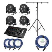 Showlite - Flp-5x9W projecteur 4 x set, y compris le contrôleur Dmx + statif + câble