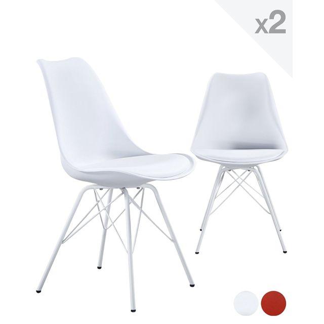 Kayelles chaise design métal Step avec coussin blanc