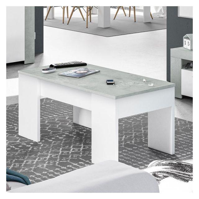 Dansmamaison Table basse relevable Blanc/Béton ciré clair - Oxnard - L 100 x l 50 x H 45 cm