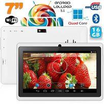 Tablette 7 pouces Bluetooth Quad Core Android 5.1 Lollipop 16Go Blanc