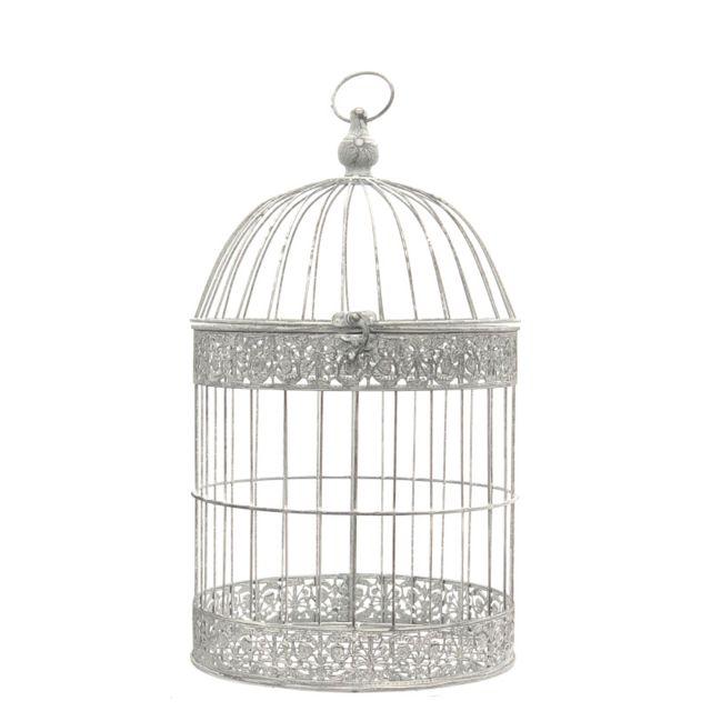 L'ORIGINALE Deco Cage Oiseaux Bougie Ronde Gris 54 cm x ø30 cm