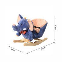 HOMCOM - Jouet à bascule modèle éléphant ceinture de sécurité fonction musicale 32 pistes neuf 07