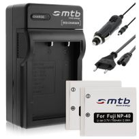 mtb more energy® - 2 Batteries + Chargeur Auto/Secteur, pour Pentax D-li8 D-li85, Optio A10 A20 A40 E65 L20 S S4.voir liste