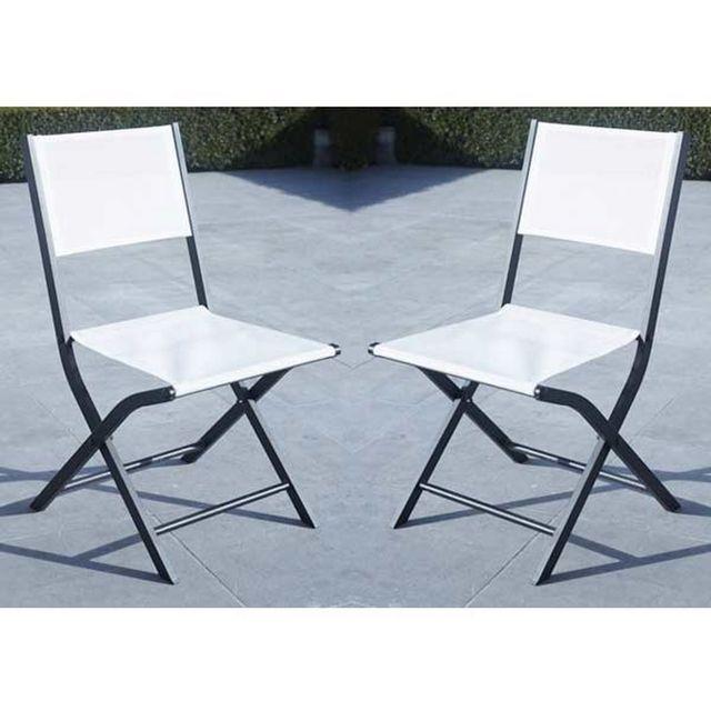 wilsa lot de 2 chaises de jardin pliantes modulo blanche. Black Bedroom Furniture Sets. Home Design Ideas