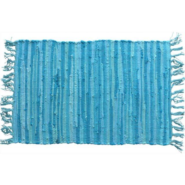 COTTON WOOD Tapis nuances de bleu à franges