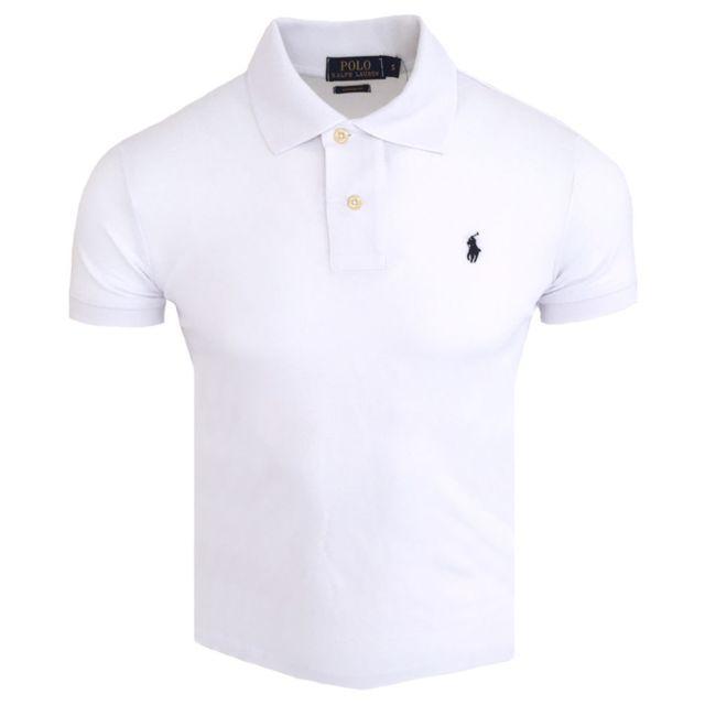 f84a9e7da564a Ralph Lauren - Polo custom fit Polo homme Cf740 blanc - pas cher Achat    Vente Polo homme - RueDuCommerce