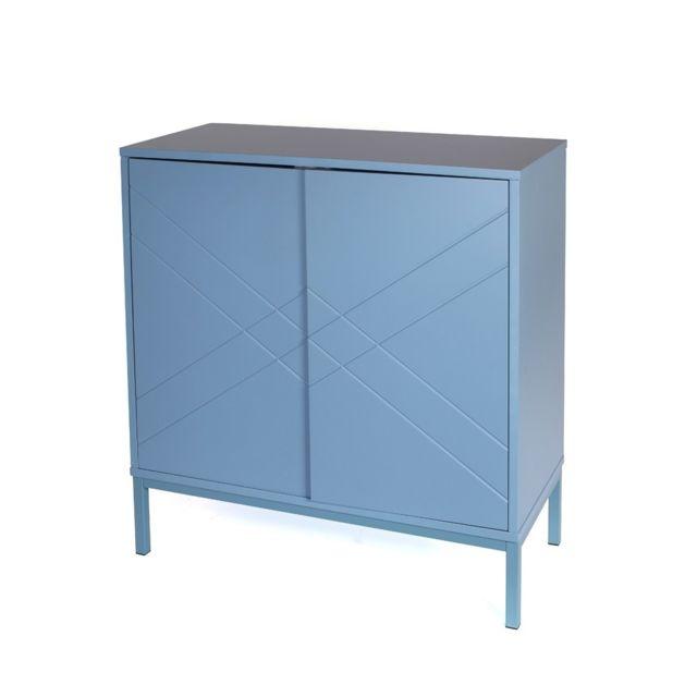 the concept factory commode bleue 2 portes lescavesdeluzege. Black Bedroom Furniture Sets. Home Design Ideas