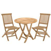 - Ensemble en teck: une table ronde et 2 chaises
