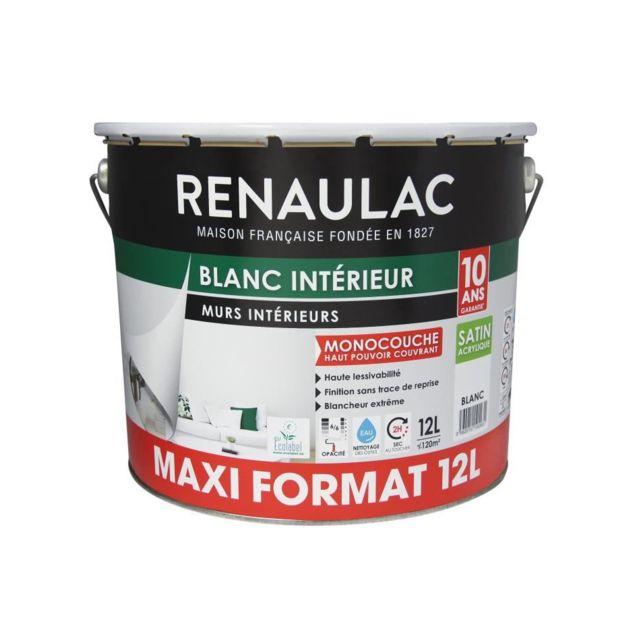 Peinture Murs Et Plafonds Monocouche Acrylique 12 L Satin Blanc Extreme Lessivable